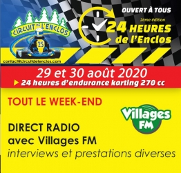 (PODCAST) Villages FM en direct du Circuit de l'Enclos pour les 24 heures d'endurance karting 270 cc